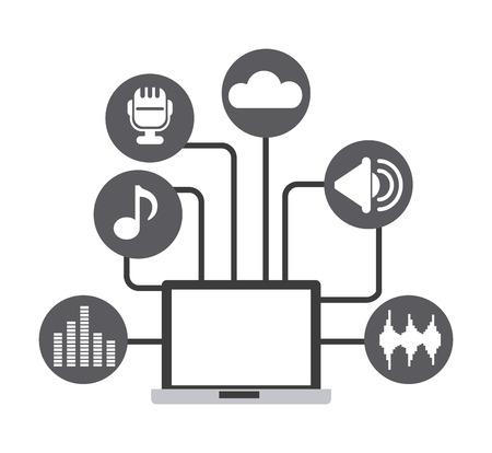 letras musicales: Diseño Technolgy, ilustración vectorial gráfico Vectores