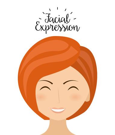 femenine: expression facial design, vector illustration  graphic