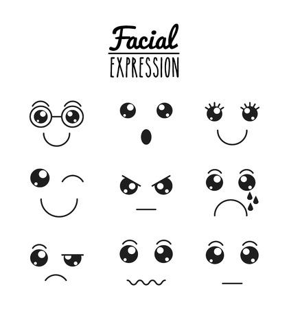 facial expression: fun expression facial design, vector illustration   graphic Illustration