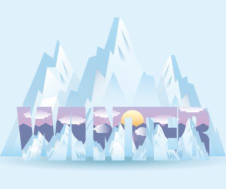 double exposure: winter landscape design, vector illustration eps10 graphic Illustration