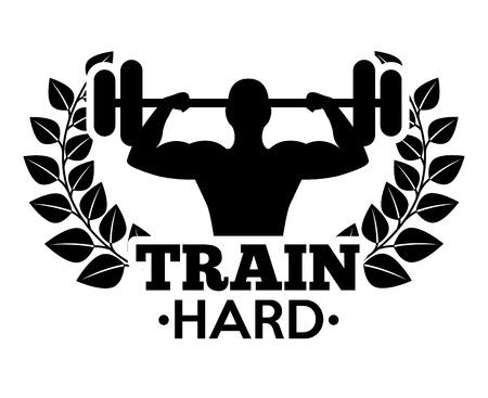 hard: train hard design, vector illustration