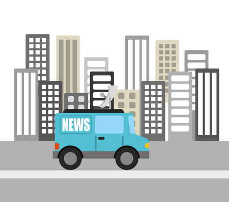 news van: news breaking design  Illustration