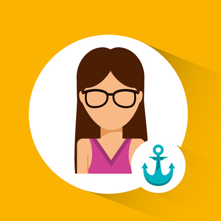 girl glasses: avatar icon beach design