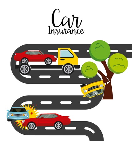 trees services: car insurance design, vector illustration graphic