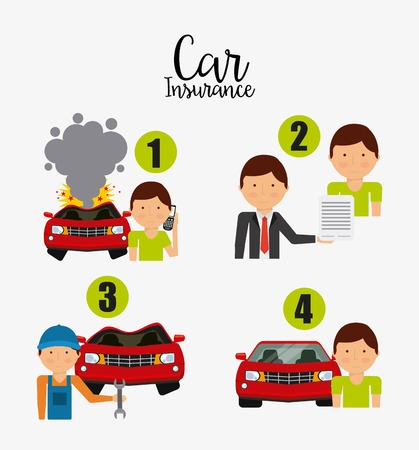 car salesperson: car insurance design, vector illustration graphic