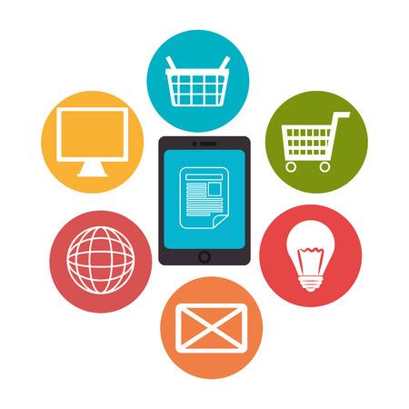 consumer society: Multimedia and technology design, vector illustration eps 10.