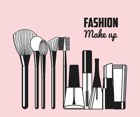 artistas: dise�o femenino maquillaje, ilustraci�n vectorial gr�fico eps10