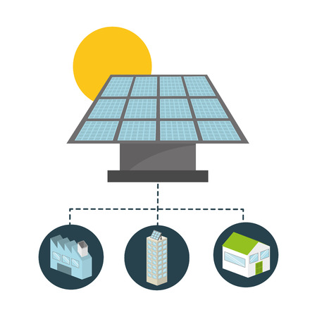 paneles solares: diseño de tipo de energía, ilustración vectorial gráfico eps10