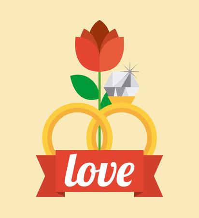 matrimonio feliz: diseño de tarjeta de amor, ilustración vectorial gráfico eps10 Vectores