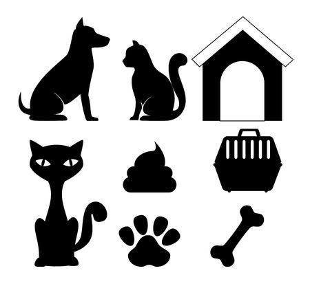 silueta de gato: Diseño digital mascotas, ilustración vectorial eps 10.