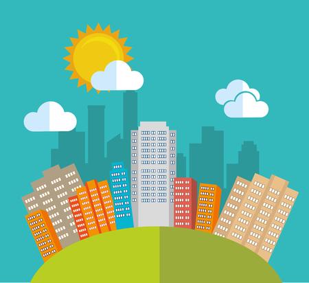 urbanization: City urban design, vector illustration eps 10.
