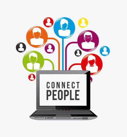 Conecte diseño de la gente, ilustración vectorial eps 10. Foto de archivo - 43904757