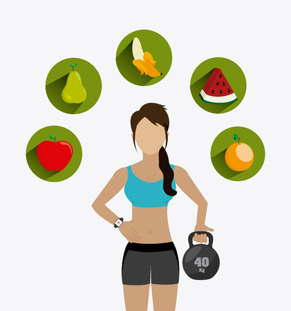 watermelon woman: healthy life over white background, vector illustration Illustration