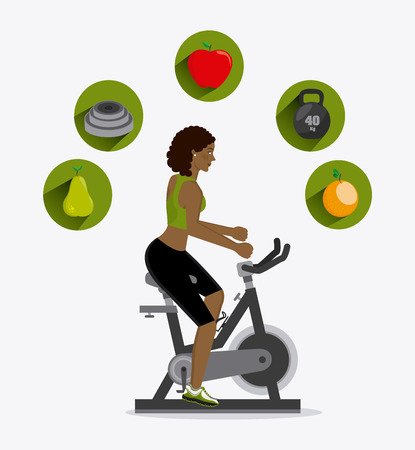 healthy life over white background, vector illustration Ilustrace