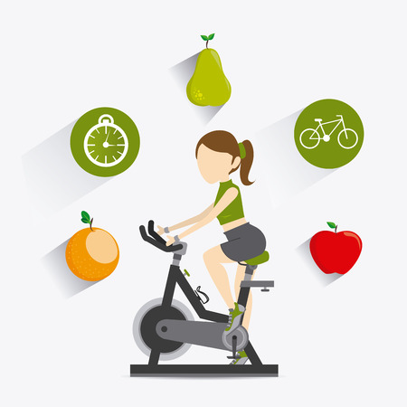 spinning: healthy life over white background, vector illustration Illustration