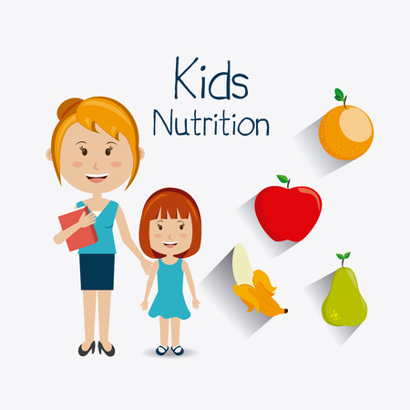 daugther: Kids food design, vector illustration eps 10.