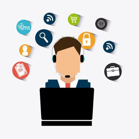 servicio al cliente: Diseño del servicio al cliente, ilustración vectorial eps 10.