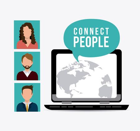 connect people: Collegare persone design, illustrazione vettoriale eps 10.