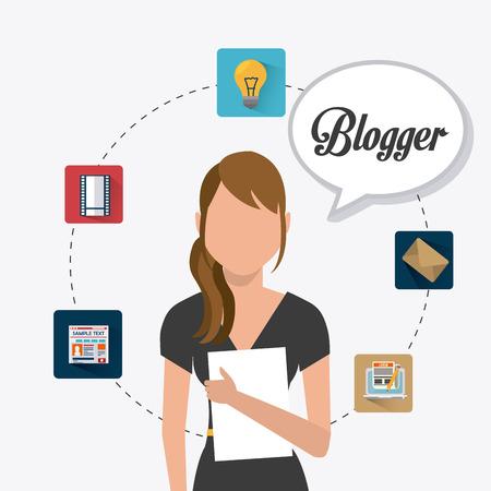 Conception numérique Blogger, illustration vectorielle eps 10.