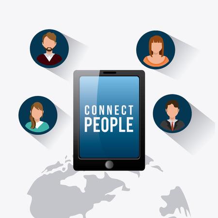 socializando: Conecte dise�o de la gente, ilustraci�n vectorial eps 10.