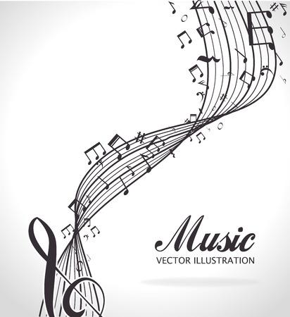 pentagramma musicale: Disegno di musica, illustrazione vettoriale eps 10. Vettoriali