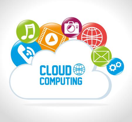 online service: Cloud computing design, vector illustration eps 10.