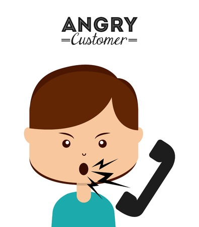phone and call: angry customer design, vector illustration eps10 graphic