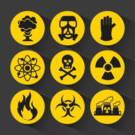 riesgo quimico: diseño de iconos nuclear, ejemplo gráfico del vector eps10