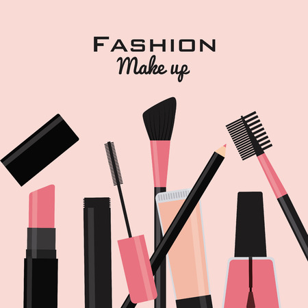 flat brush: fashion make up design, vector illustration eps10 graphic Illustration