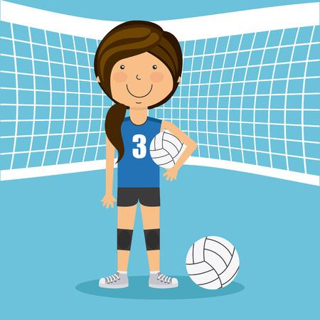 balloon volleyball: dise�o deportivo gente, ejemplo gr�fico vectorial eps10