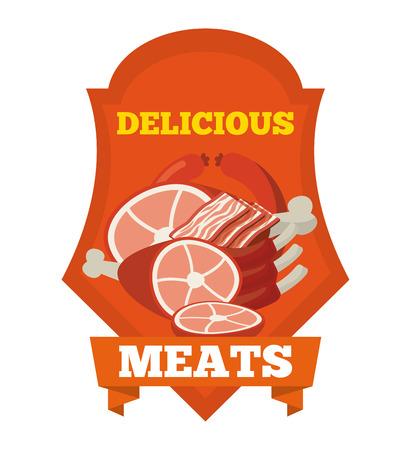 carnicería: el diseño de productos de carnicería, ilustración vectorial gráfico eps10