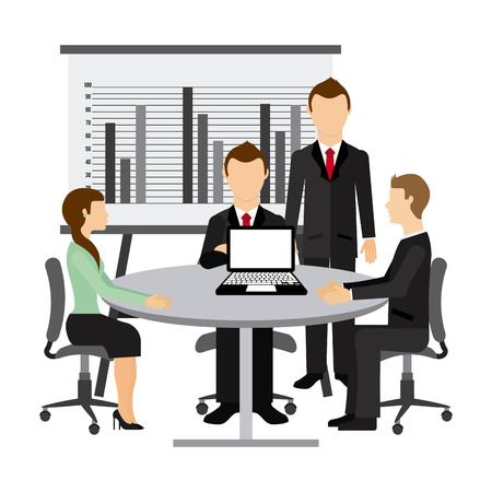 business team meeting: team work design, vector illustration eps10 graphic
