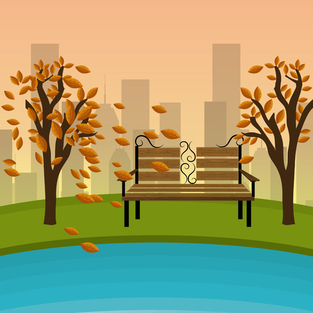 garden chair: Green park design, vector illustration eps 10.