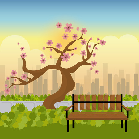 garden flowers: City park design, vector illustration eps 10.