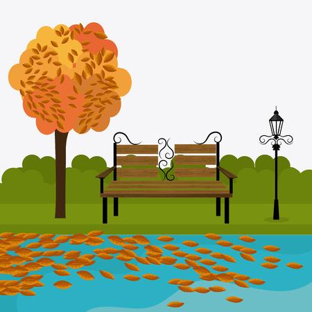 autumn scene: Green park design, vector illustration eps 10.