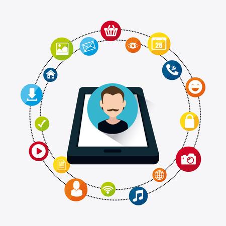 socializando: Diseño de medios de comunicación social, ilustración vectorial eps 10. Vectores