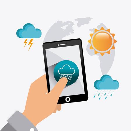 mobile app: Weather mobile app design, vector illustration eps 10. Illustration