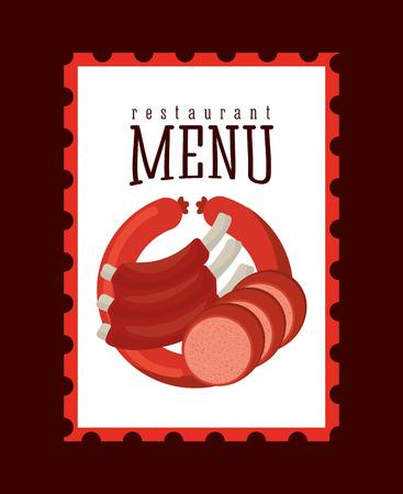 barbecue ribs: butchery menu design, vector illustration  Illustration