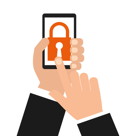 mobile phones: smartphone security design, vector illustration  Illustration