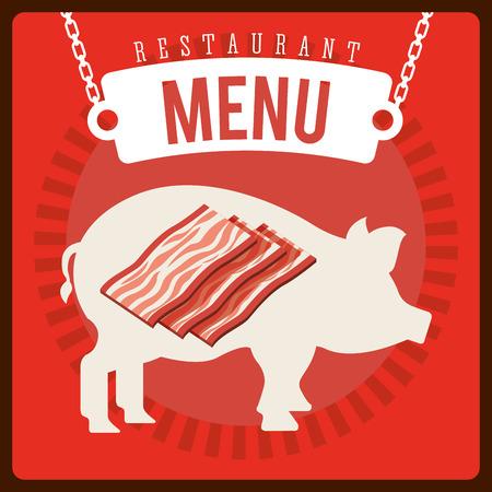 carnicer�a: Dise�o del men� de la carnicer�a, ilustraci�n vectorial
