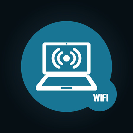 laptop icon: wifi connection design, vector illustration eps10 graphic Illustration
