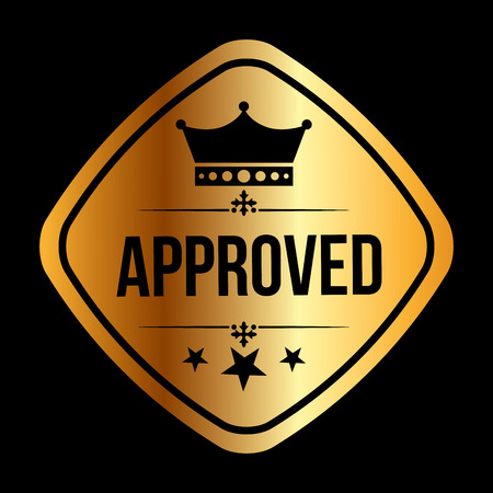 approval icon: approved seal design, vector illustration eps10 graphic