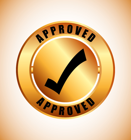 approval label: approved seal design, vector illustration eps10 graphic