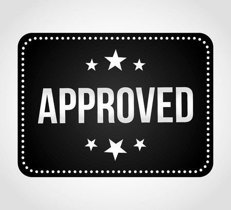 accepted label: approved seal design, vector illustration eps10 graphic