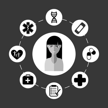 avatar vrouwelijke ontwerp, vectorillustratie eps10 grafische Stock Illustratie