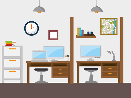 muebles de oficina: Diseño de la oficina trabajo, ilustración vectorial eps 10.