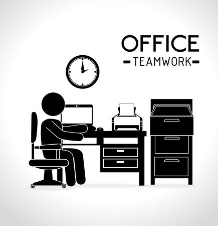 Diseño de la oficina trabajo, ilustración vectorial eps 10. Foto de archivo - 44578604