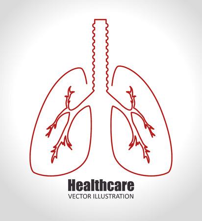 respiration: Medical healthcare digital design,  over white background vector illustration. Illustration
