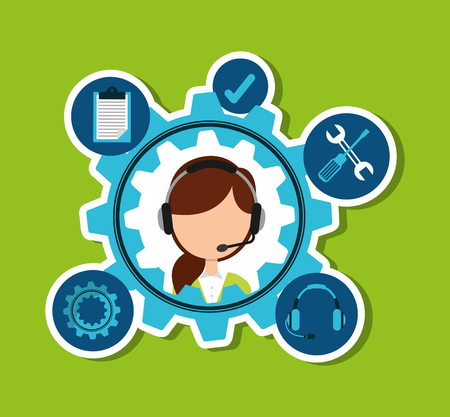 call centre girl: customer service design Stock Photo