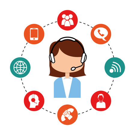 woman cellphone: customer service design Illustration